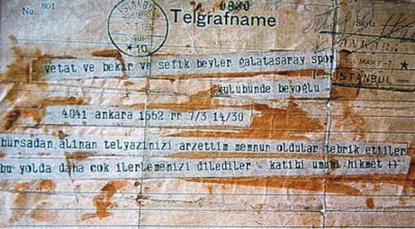 Atatürk tarafından gönderilen tebrik telgrafı